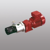 Metering pump with block chamber for the polyurethane industry as a complete unit with gear box motor.